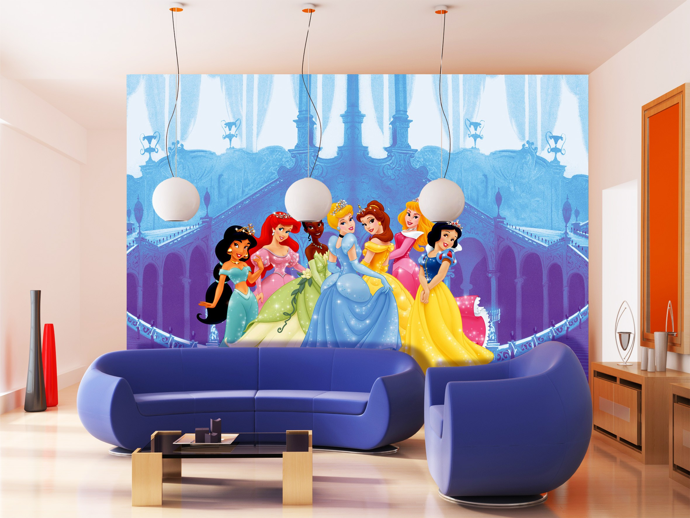 Wallpaper disney princess mickey mouse wallpaper photo for Disney mural wallpaper