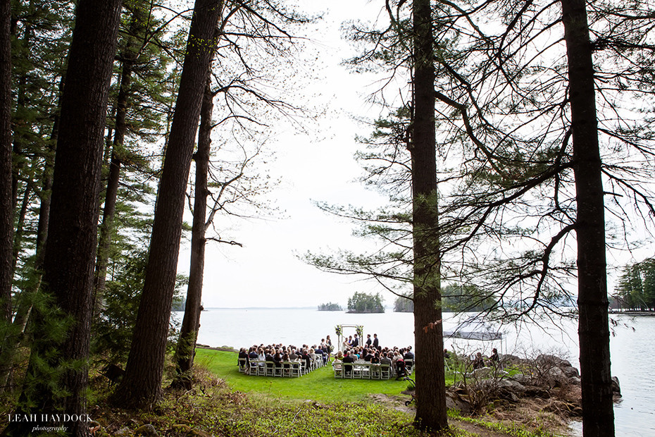 Wedding Ceremony on Petunia Lawn at Migis Lodge in Maine