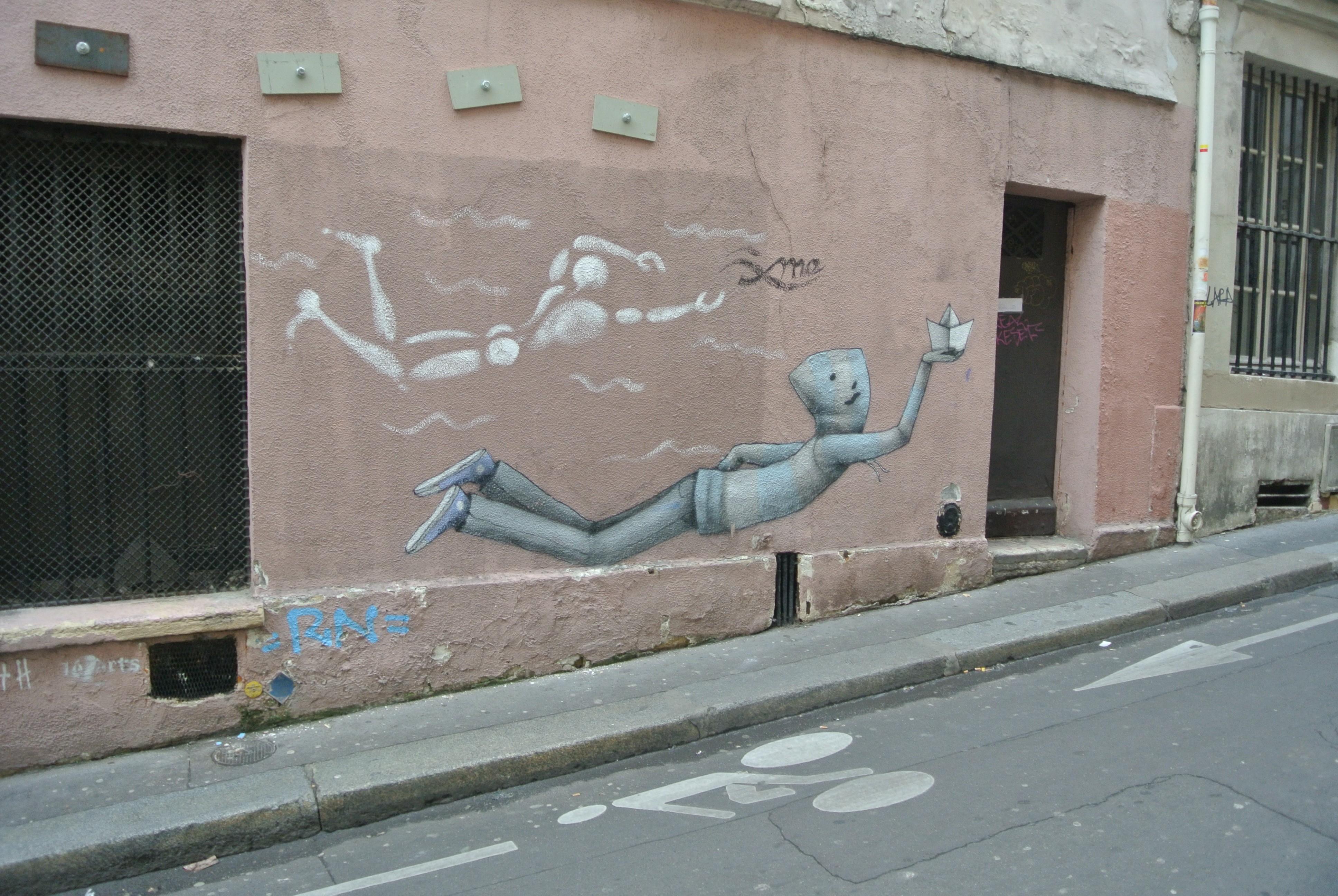 Mannequin street art on Rue Mouffetard, 6th arrondissement, Paris