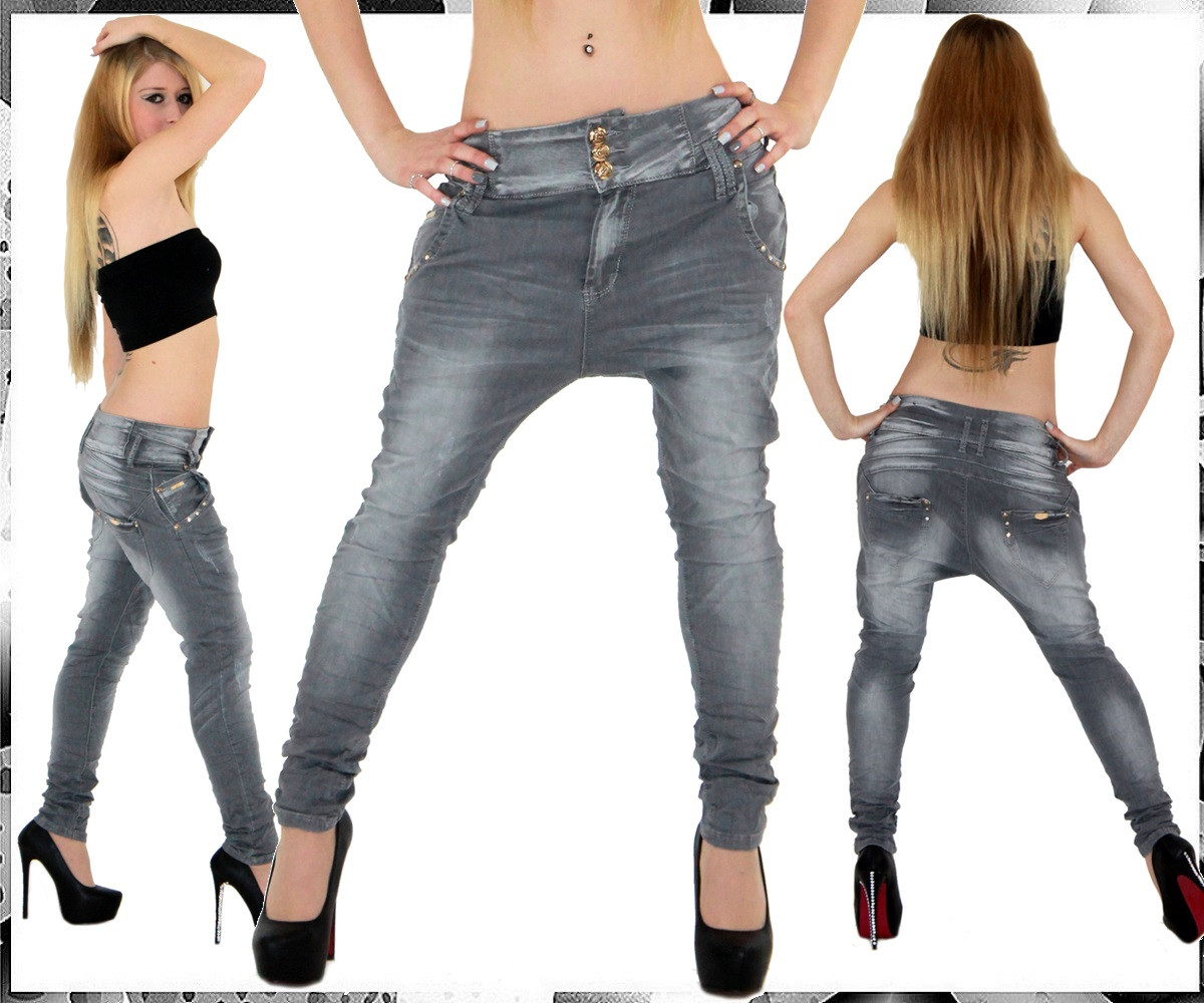 sexy damen jeans hose baggy boyfriend aladin grau 422 ebay. Black Bedroom Furniture Sets. Home Design Ideas