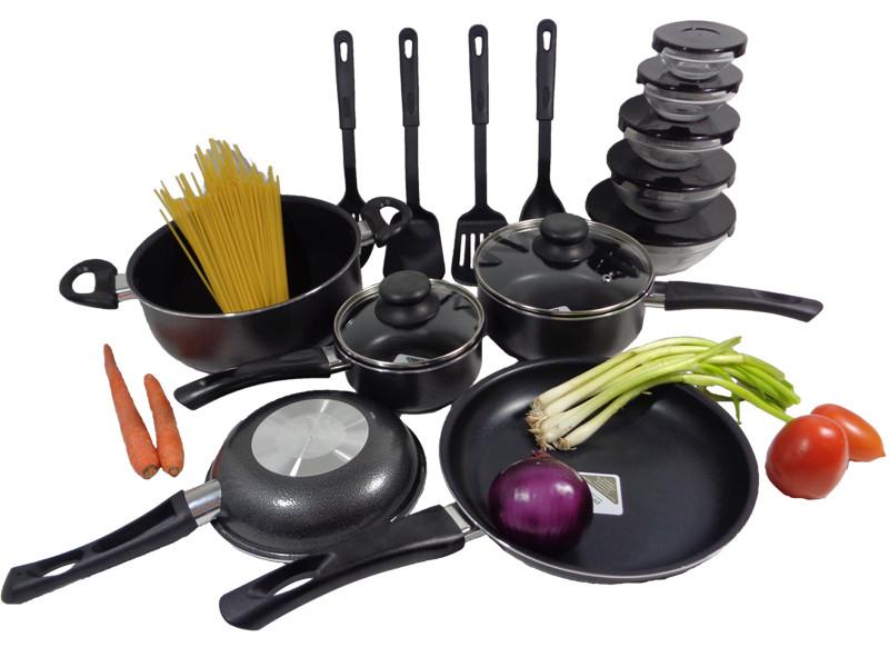 Nonstick 22pc pots fry pans cookware set gray glass bowls for Alpine cuisine cookware set