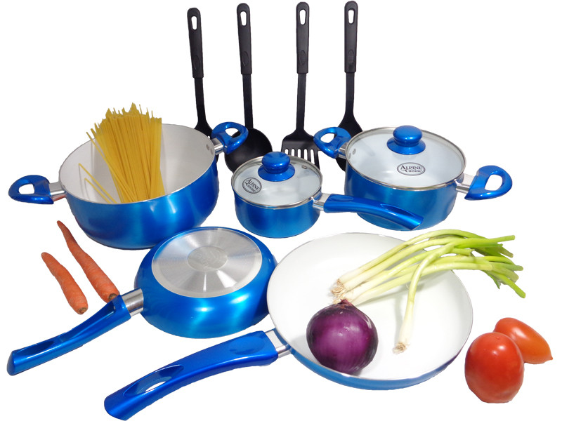 Nonstick ceramic coating 12 piece kitchen cookware set for Alpine cuisine ceramic cookware