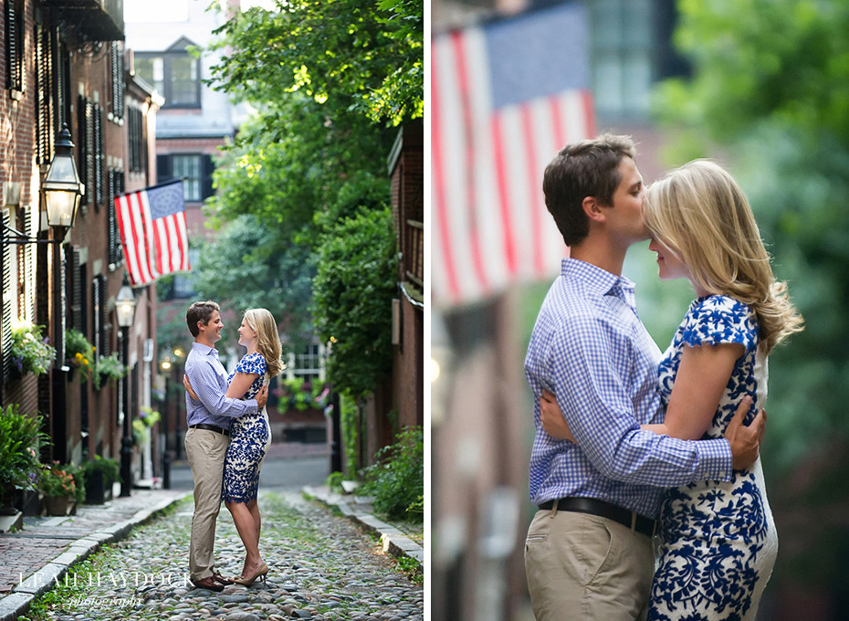 Engagement pictures on Acorn Street in Boston