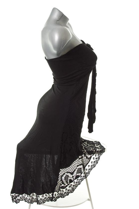 neu sommer vokuhila bandeau netz kleid vorne kurz hinten lang schwarz 36 38 40 ebay. Black Bedroom Furniture Sets. Home Design Ideas