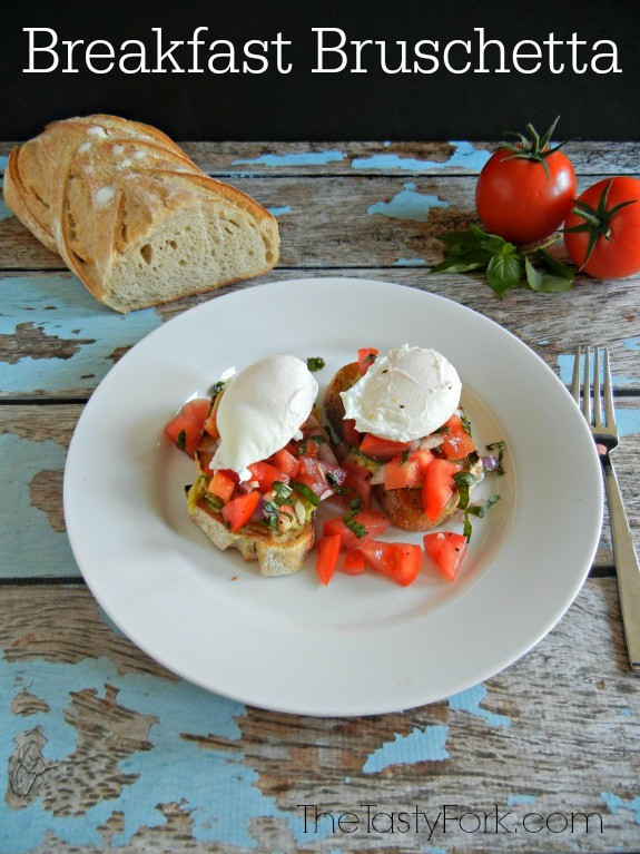 Breakfast Bruschetta -- a fun, breakfast twist on the traditional recipe. #SpringMadeSimple at thetastyfork.com