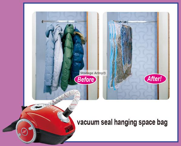5X Jumbo Vacuum Seal Hanging Garment Bags Space Saver ...