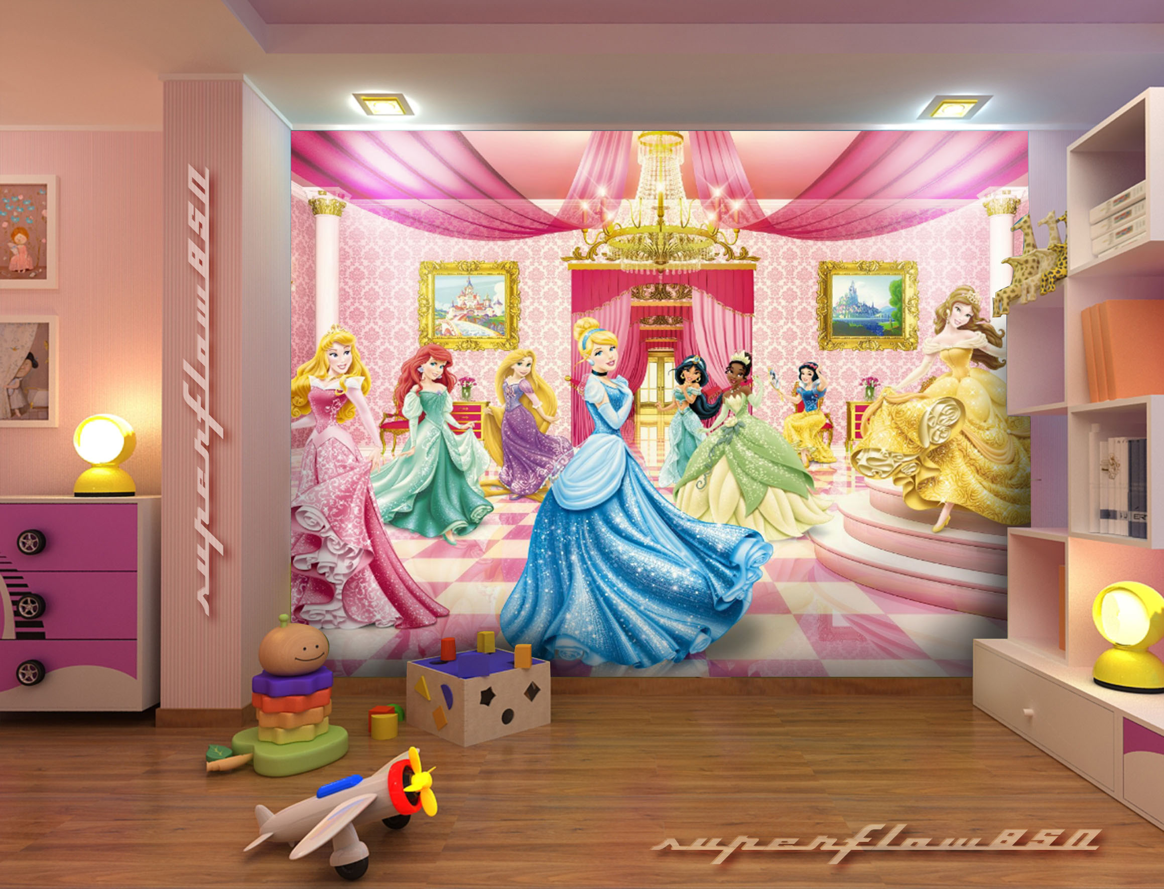 Princess ballroom disney photo wallpaper wall mural kids for Disney mural wallpaper