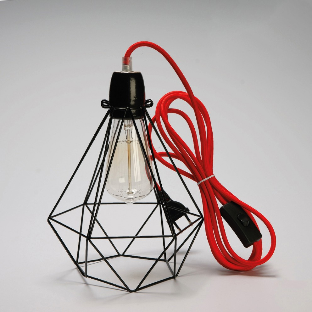lampe filament style diamond black red lamp design industriel loft usine ebay. Black Bedroom Furniture Sets. Home Design Ideas