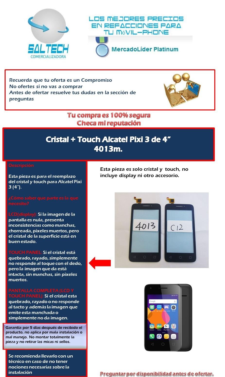 Touch Cristal Alcatel Pixi 3  4   4013m Nuevo