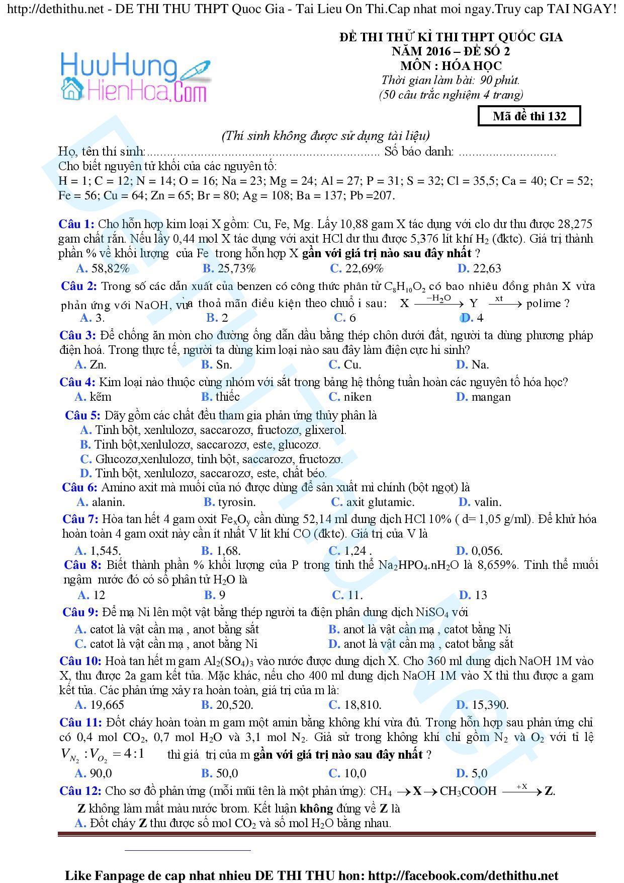 Đề Thi Thử môn Hóa THPT Quốc Gia 2016 số 2 giải chi tiết