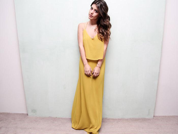 Vestido largo amarillo de mango
