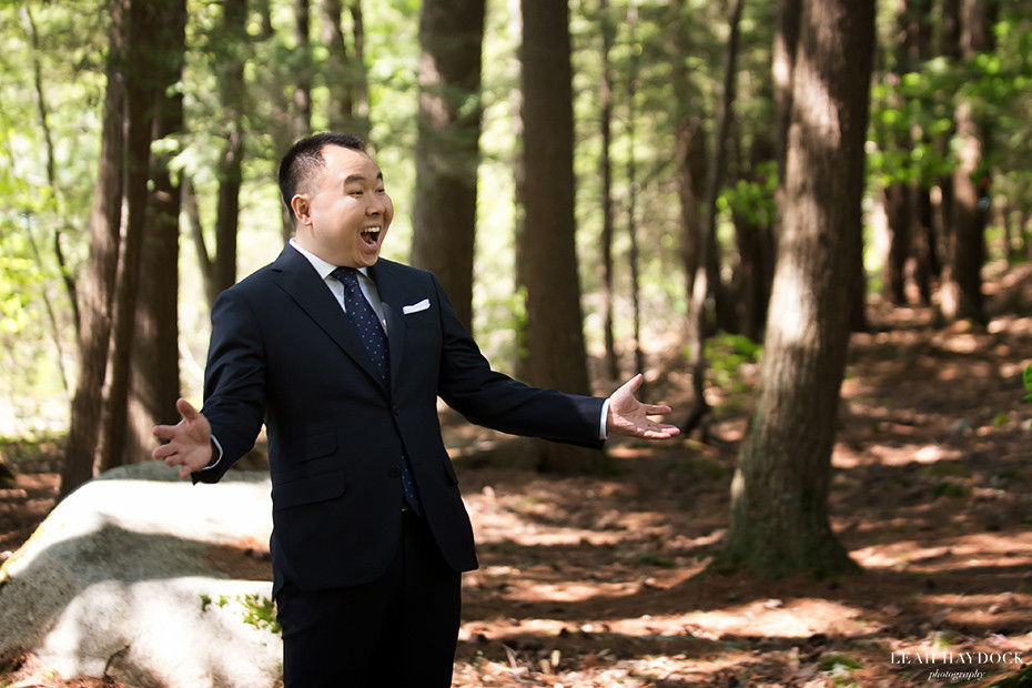 Groom sees the bride for the first time in Migis Lodge, Wedding Pictures