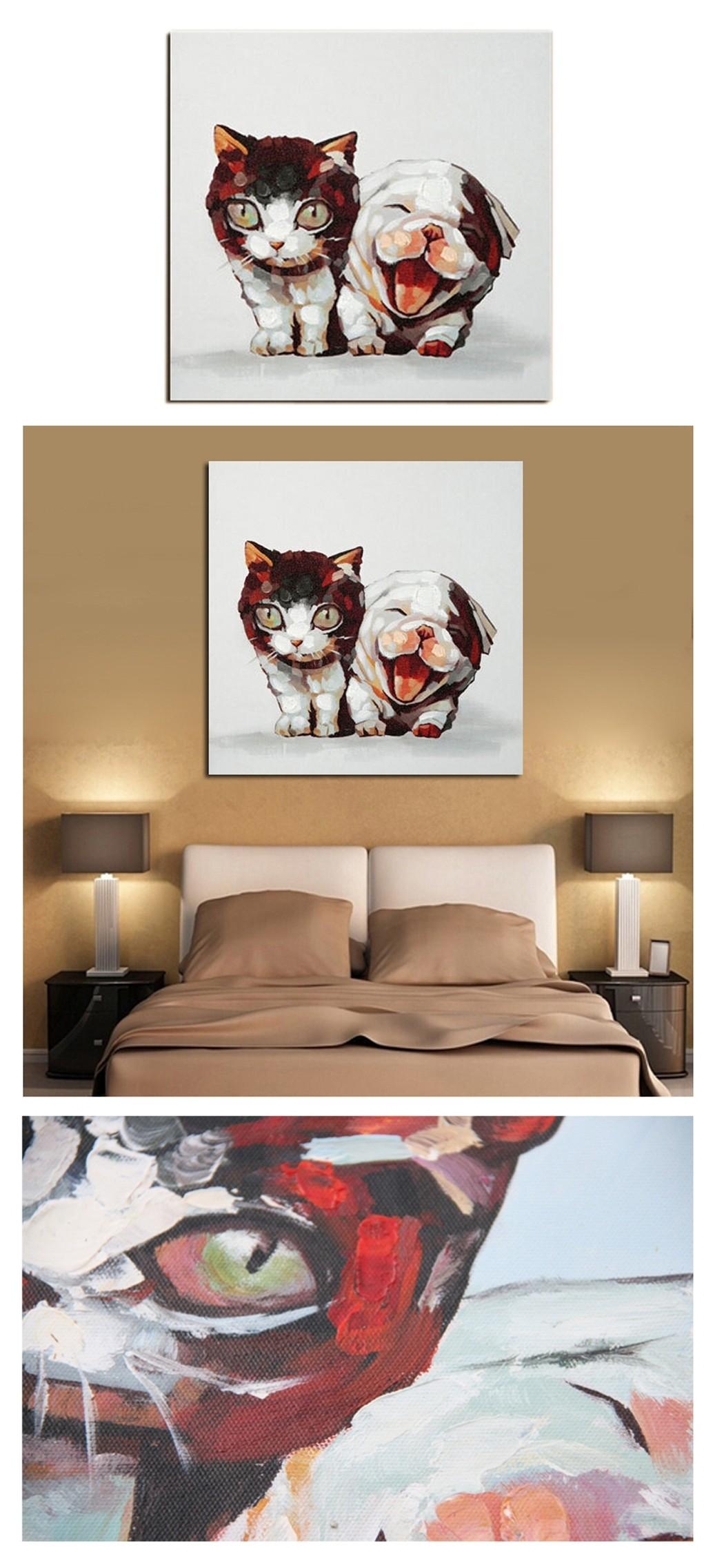 Tableau chat et chien peinture l 39 huile sur toile fait main art contempo - Toile peinture pas cher ...