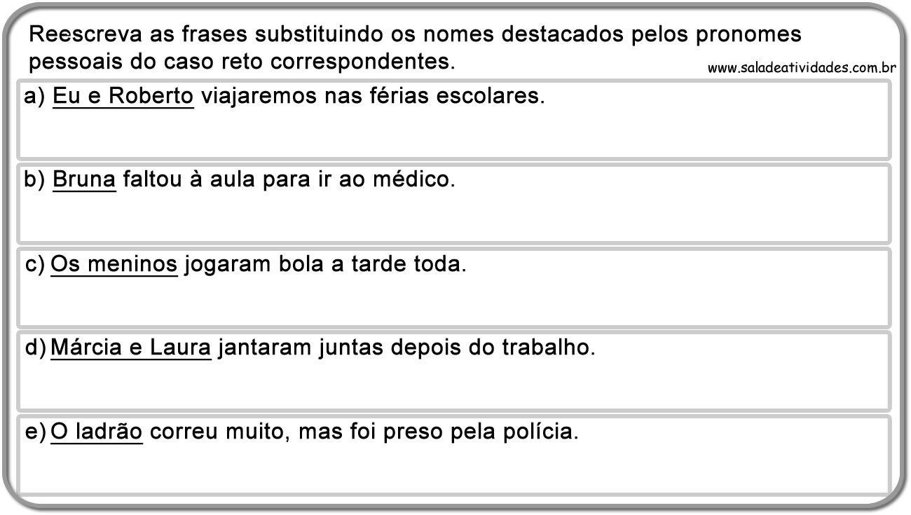Populares Atividades de pronomes pessoais e tratamento para imprimirSala de  QN85