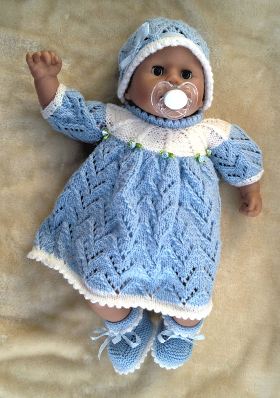 Knitting pattern for 15 -18 inch doll dress, hat & bootees ...