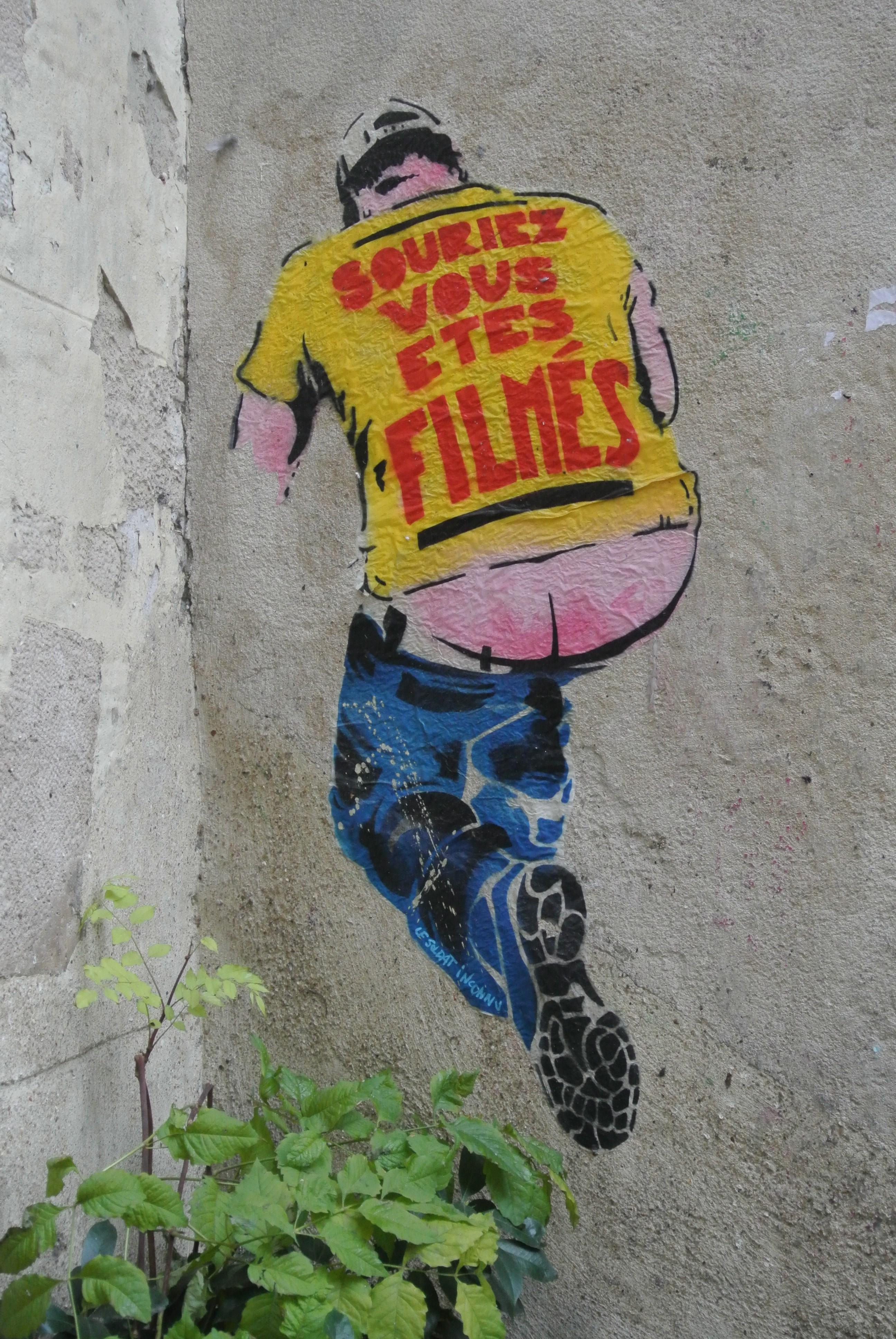"""""""Souriez vous êtes filmés"""" street art in Le Marais, Paris"""