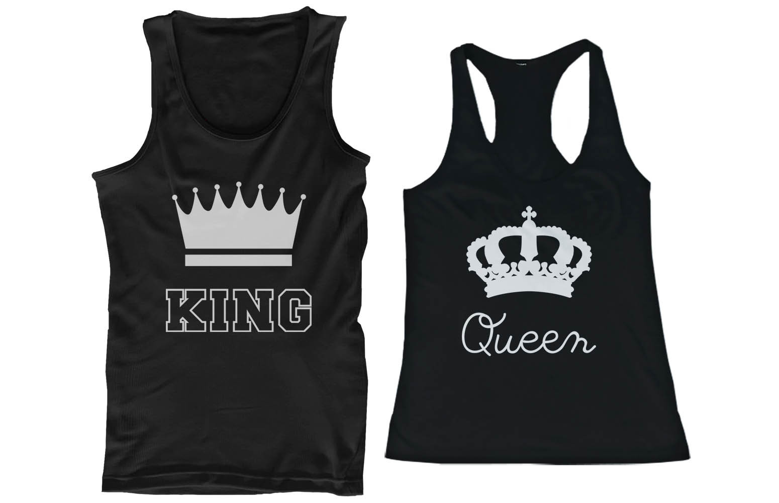 Details about His and Hers Matching Couple Tank Tops - King and Queen ...