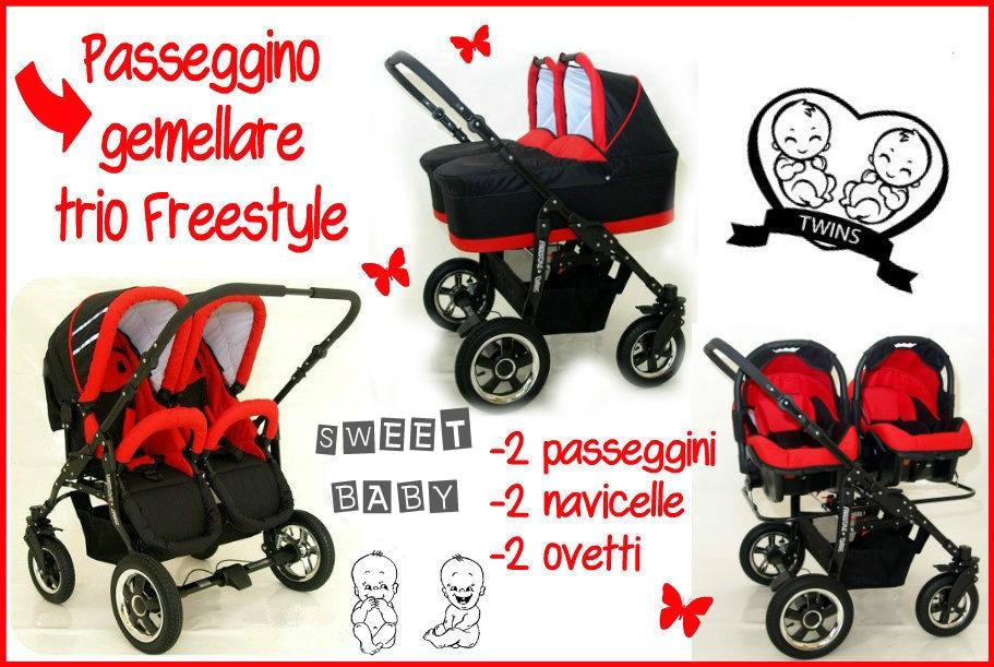 Passeggino gemellare freestyle trio navicelle ovetti nero for Passeggino trio ebay