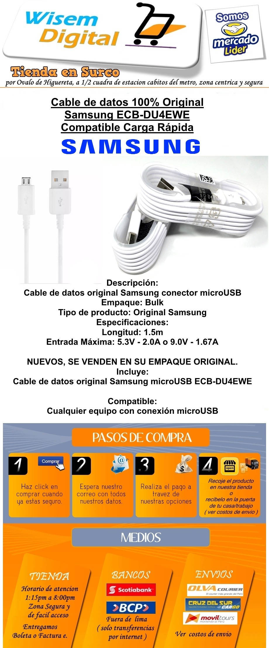 Cable De Datos Samsung 1.2m Galaxy S6,s7 Note 4, 5 *tienda