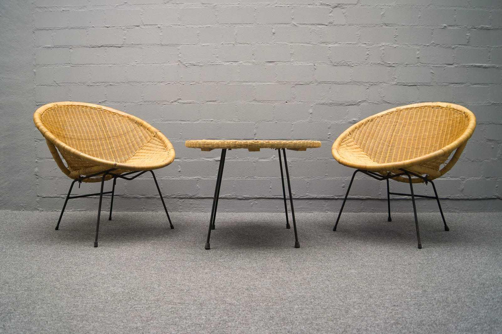50er jahre sitzgarnitur 2x sessel mit beistelltisch couchtisch egon eiermann ra ebay. Black Bedroom Furniture Sets. Home Design Ideas