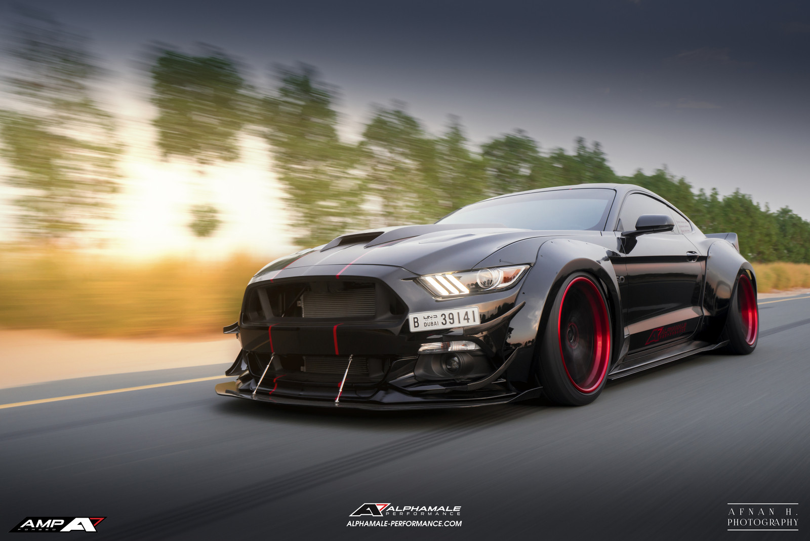 2016 Mustang Hood Scoop >> Alpha ONE S550 Widebody Mustang in Dubai on AMP-5V Forged wheels. The Baddest of all Mustangs