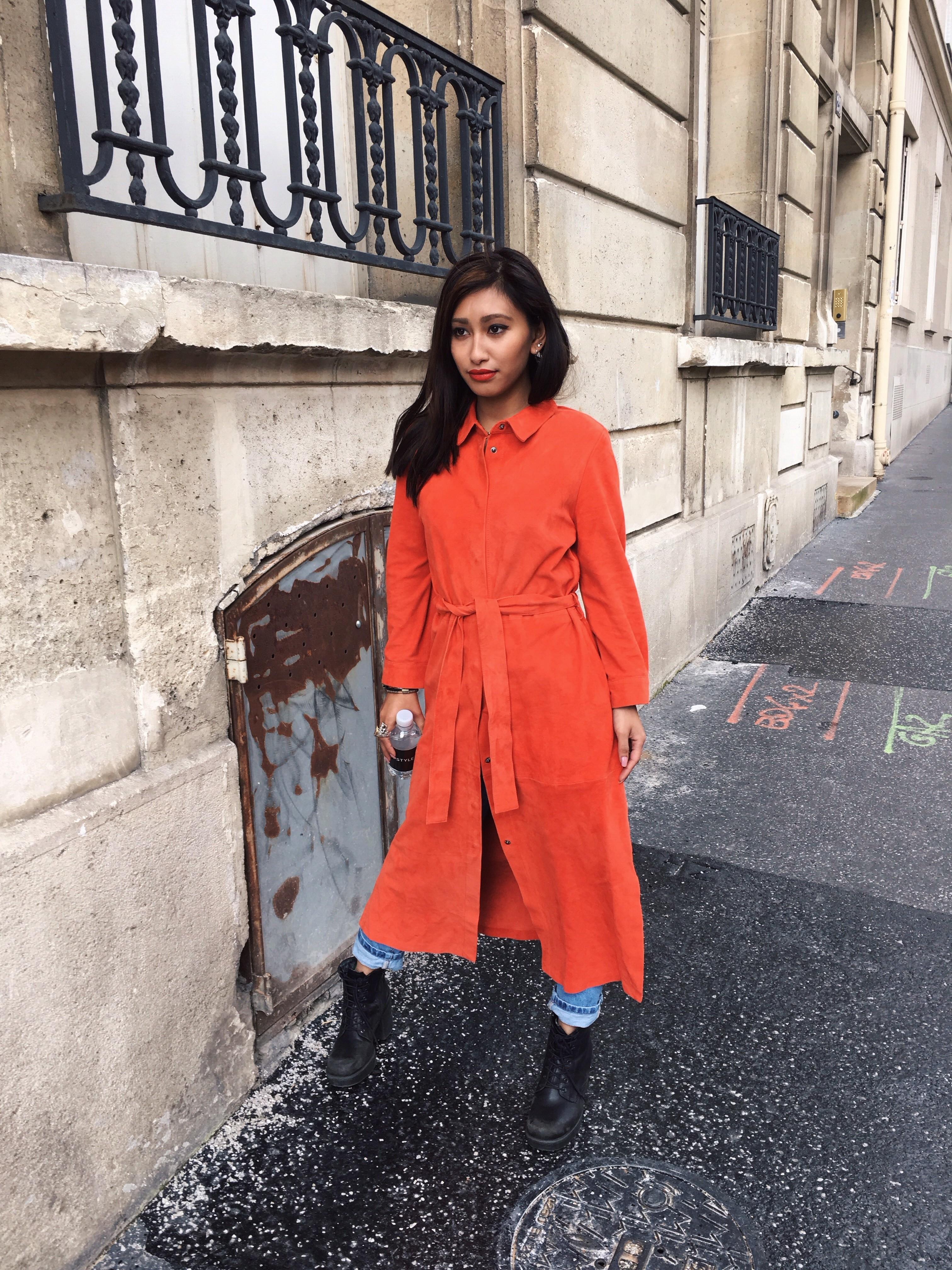 longue blouse suédine orange
