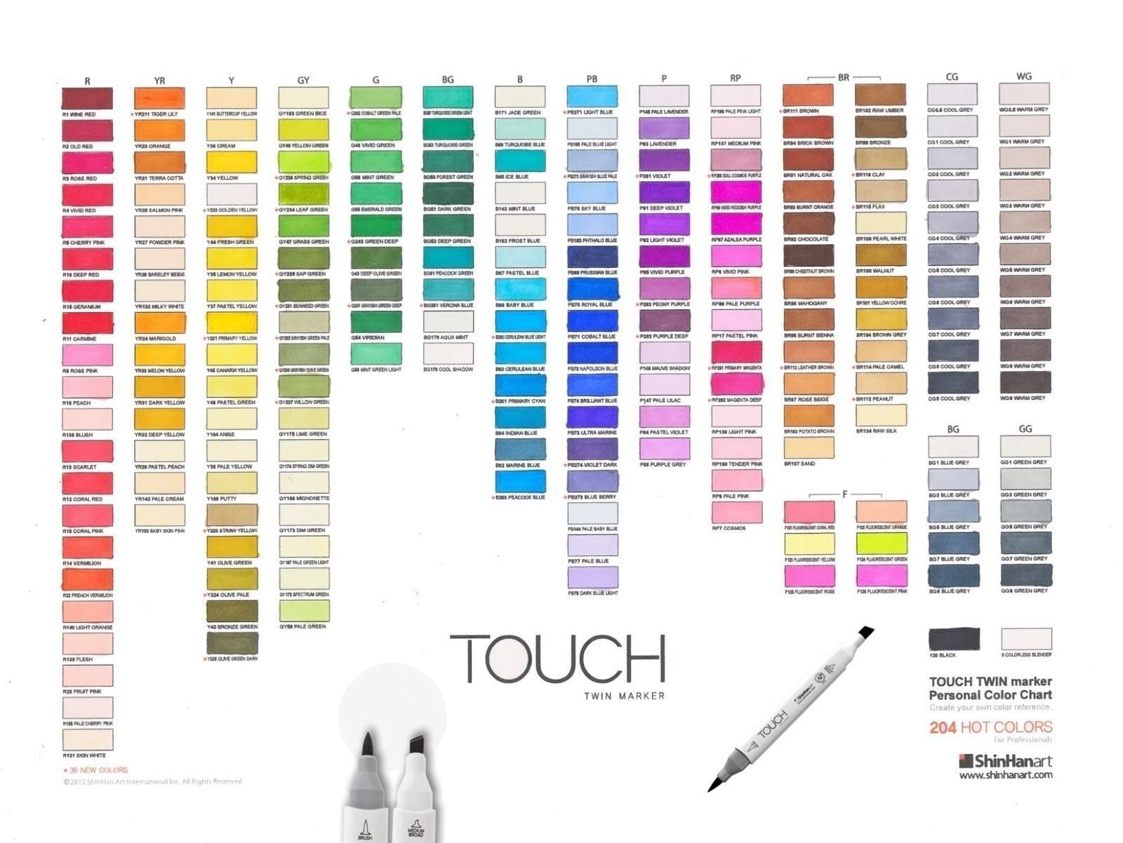 All individual shinhan art touch twin brush markers list collect all 204 shinhan touch marker colors chart for reference only nvjuhfo Image collections