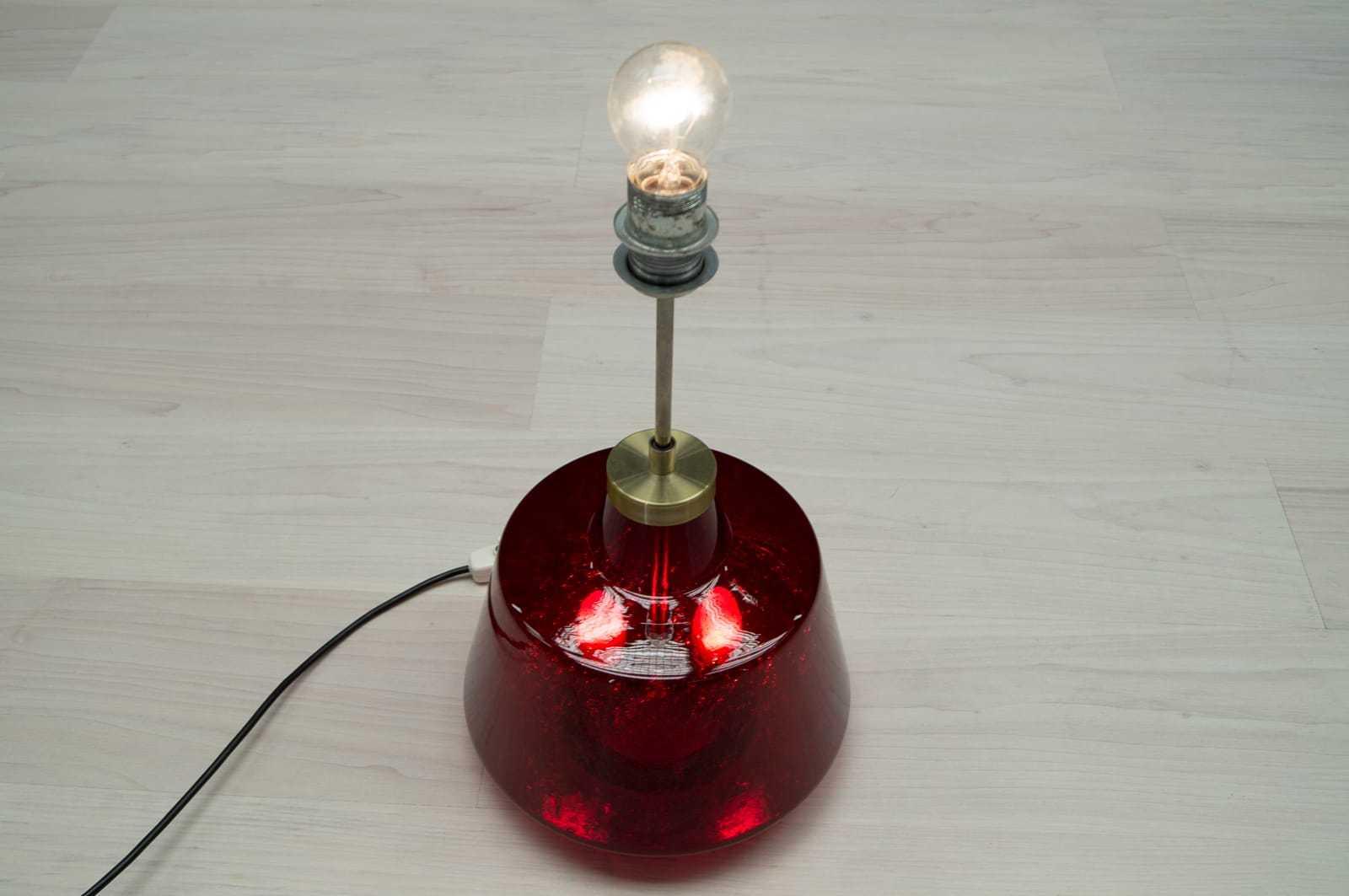 rot beleuchteter glasfu doria glas stehlampe lampe ohne schirm 60er 70er ebay. Black Bedroom Furniture Sets. Home Design Ideas
