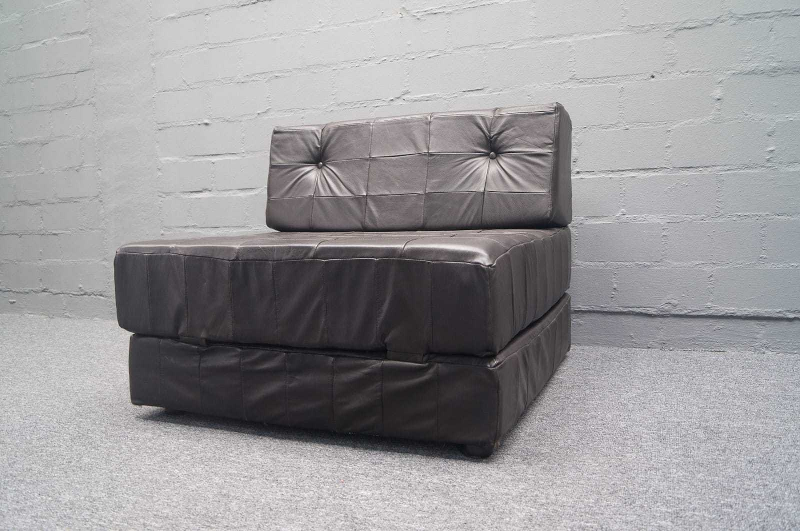 sofa 2 armchairs leather patchwork daybed stil sessel sofa 60er 70s ebay. Black Bedroom Furniture Sets. Home Design Ideas