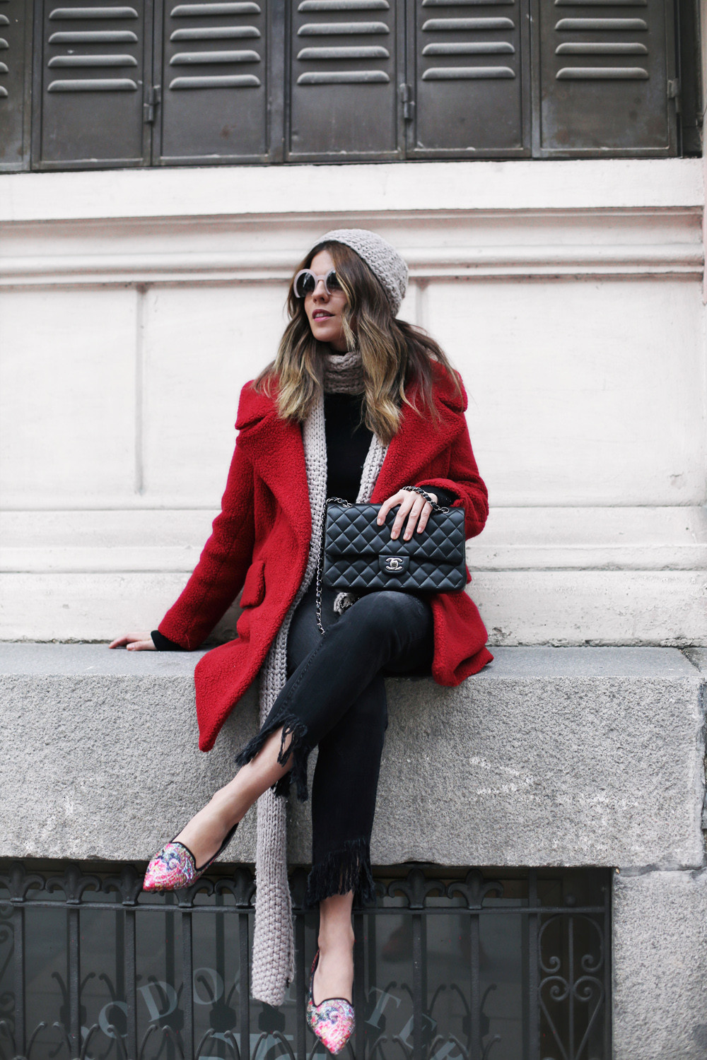 french women style, chanel purse, red coat