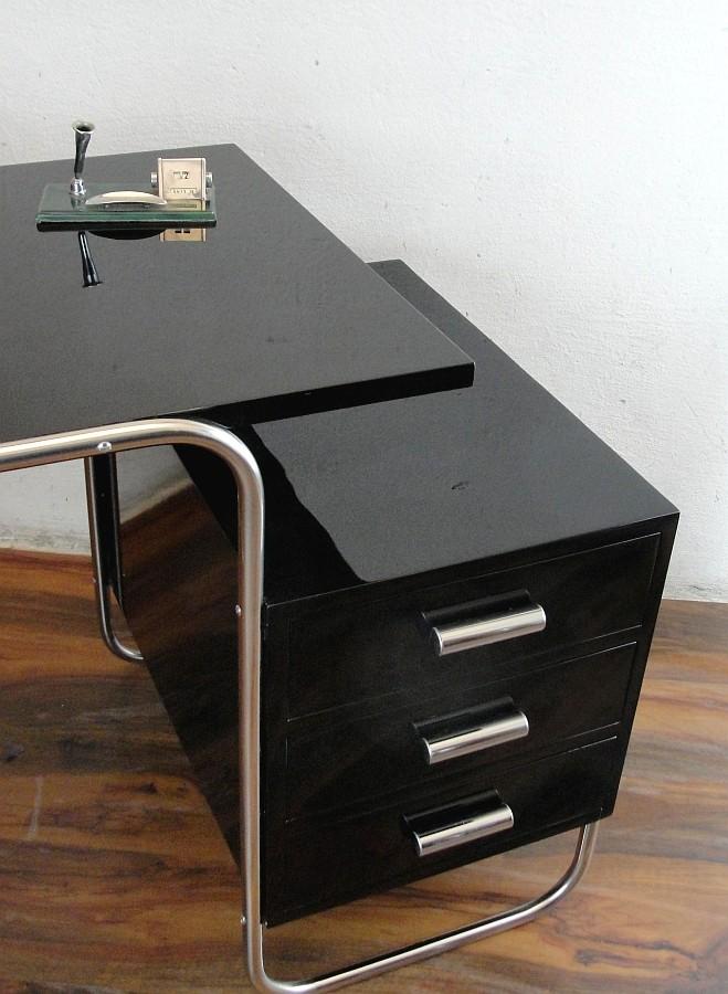 Schreibtisch freischwinger stahlrohr chrom holz slezak for Schreibtisch holz schwarz