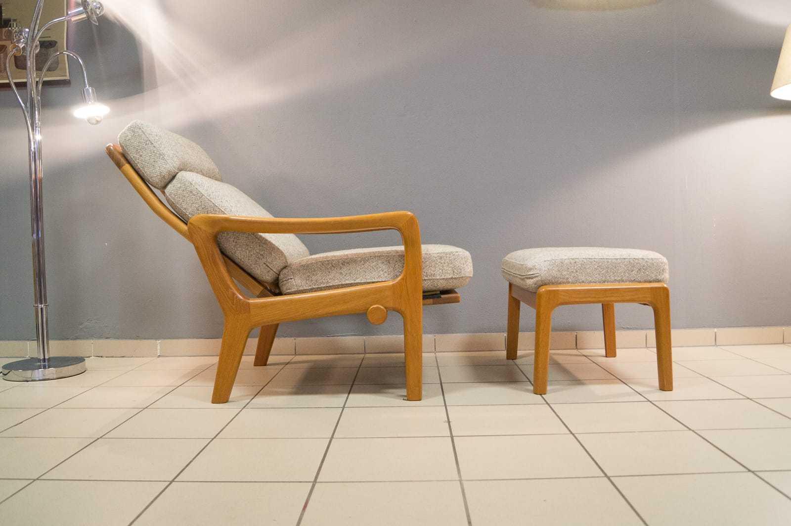 verstellbarer juul kristensen hochlehn sessel mit hocker hochlehner teak vintage. Black Bedroom Furniture Sets. Home Design Ideas