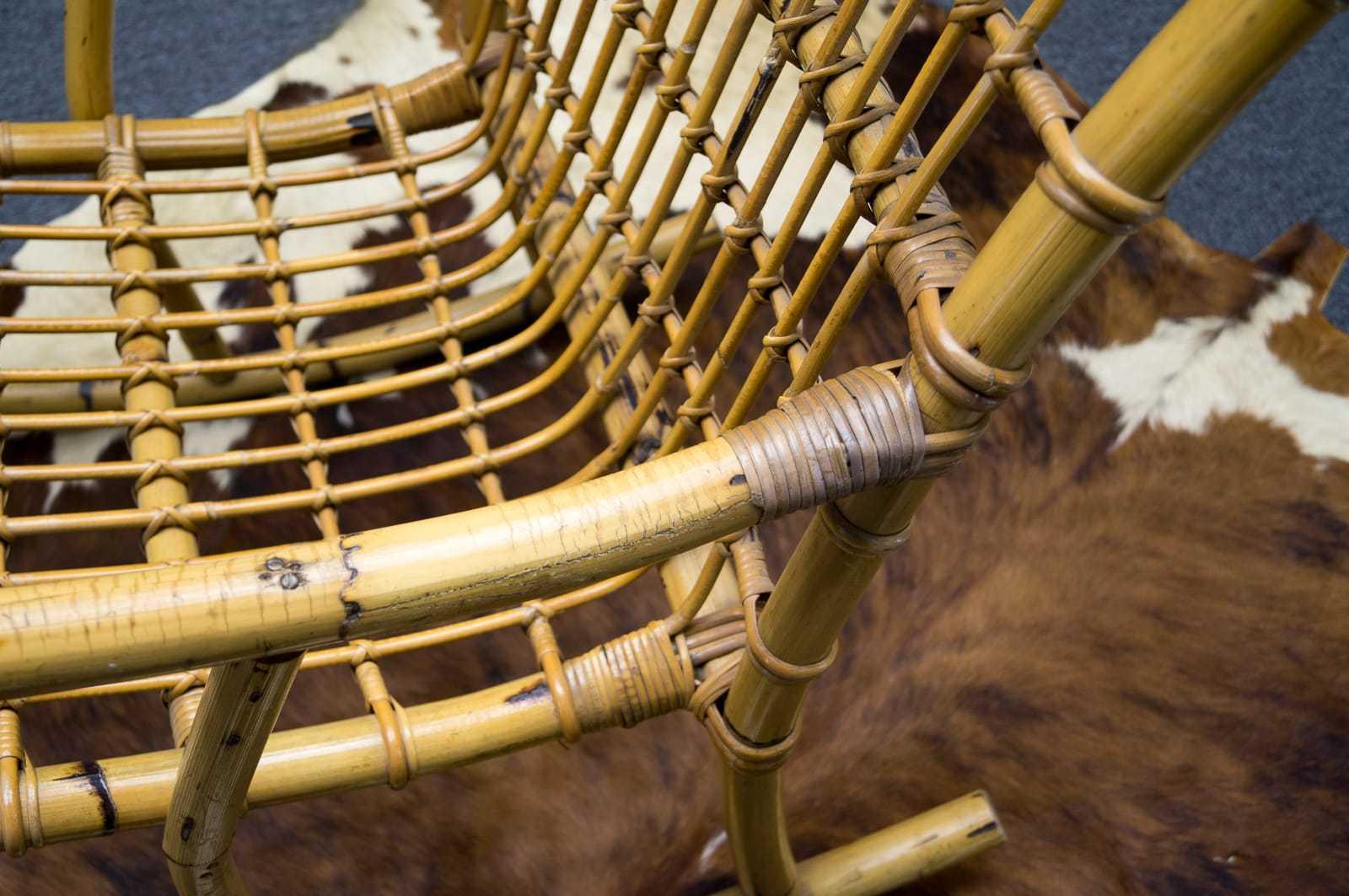 Mid century bambus schaukelstuhl albini stil 60s 50er for Schaukelstuhl bambus