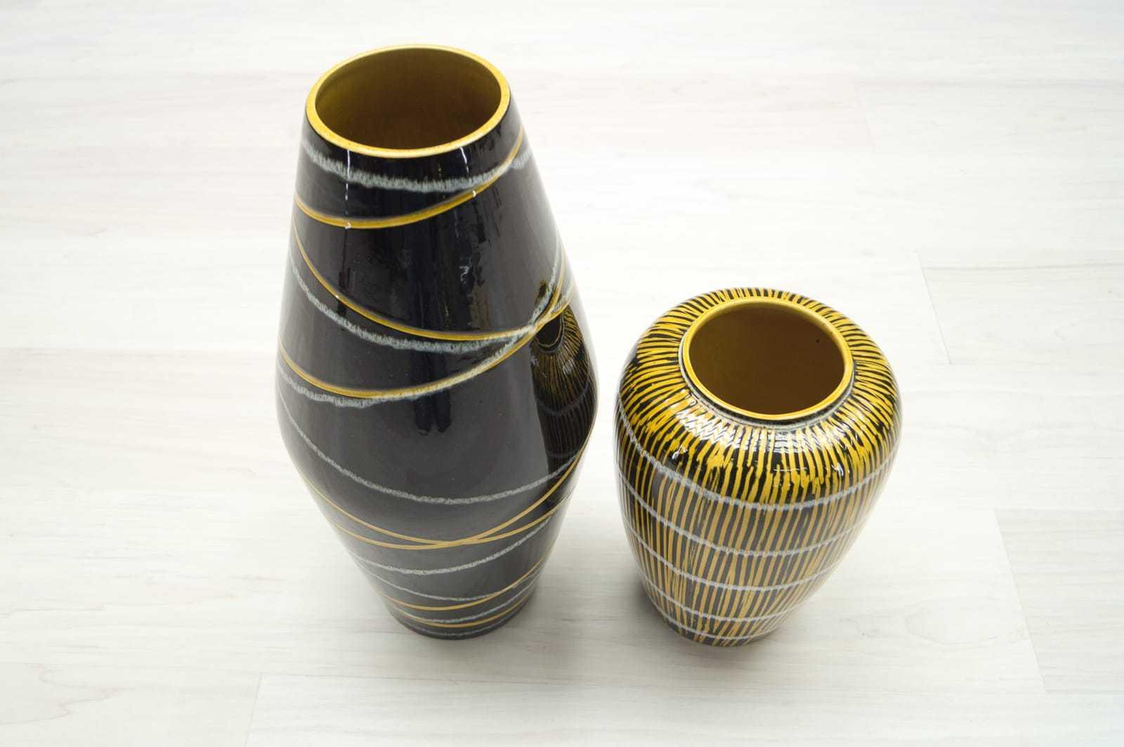 2x foreign keramik vasen gelb schwarz mid century 50er. Black Bedroom Furniture Sets. Home Design Ideas
