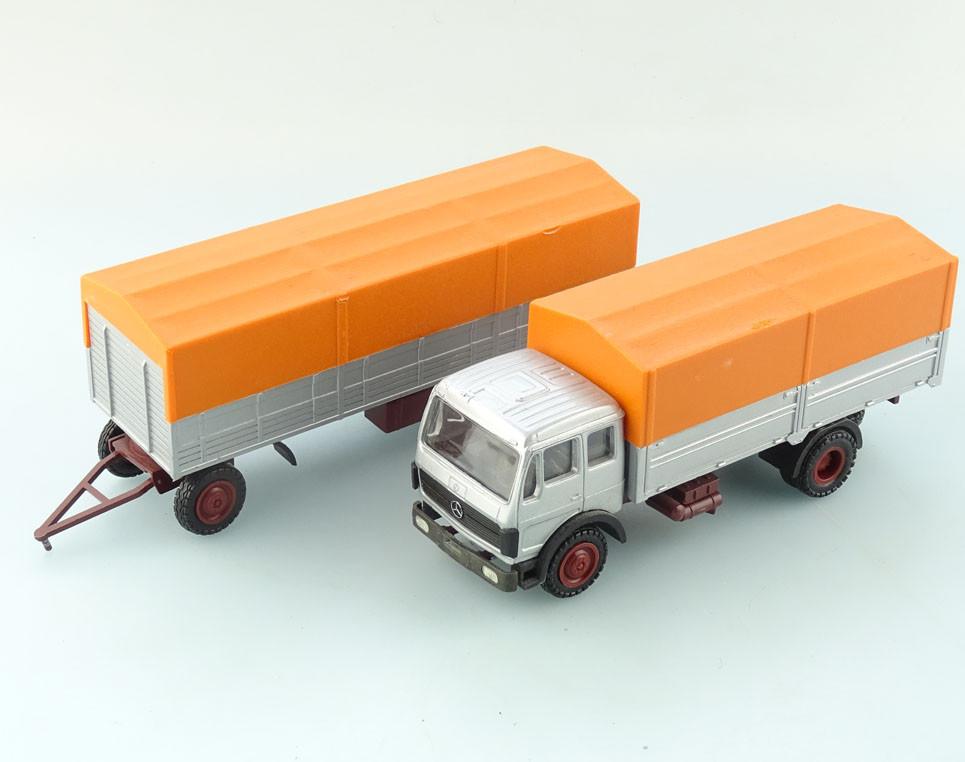nzg 1 50 mercedes benz lkw mit anh nger orange plane 369. Black Bedroom Furniture Sets. Home Design Ideas