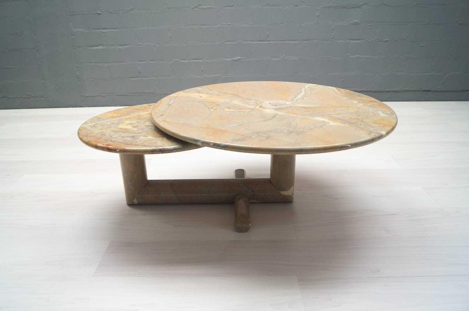 Drehbarer doppelter vintage marmor tisch couchtisch for Marmortisch couchtische