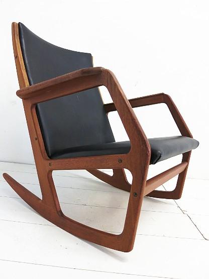 Georg jensen kubus schaukelstuhl rocking chair teak leder for Gebrauchter schaukelstuhl