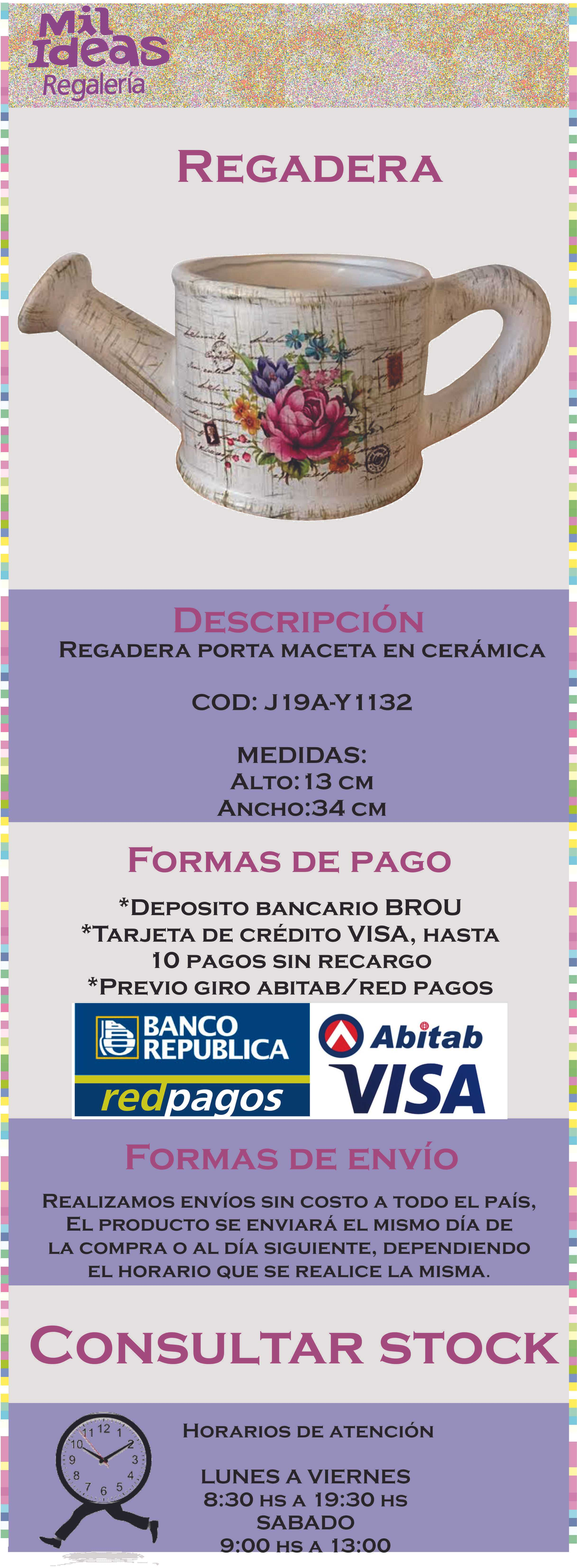 Regadera porta maceta adorno 799 00 en mercado libre for Regaderas mercado libre
