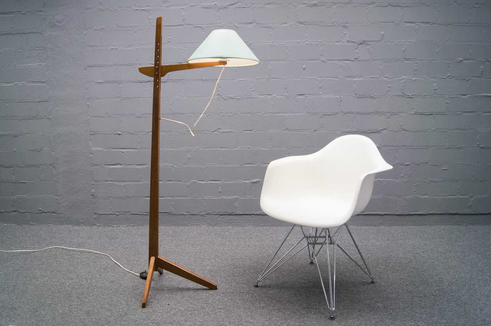 teak tripod lampe stehlampe floor lamp skandinavisch 60er 70er. Black Bedroom Furniture Sets. Home Design Ideas