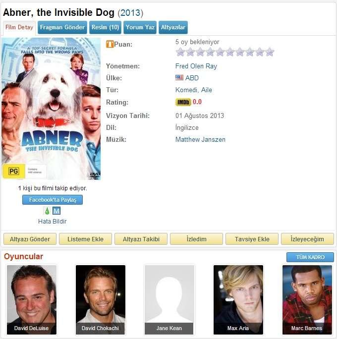 Abner the Invisible Dog - 2013 BRRip x264 AC3 - Türkçe Altyazılı Tek Link indir