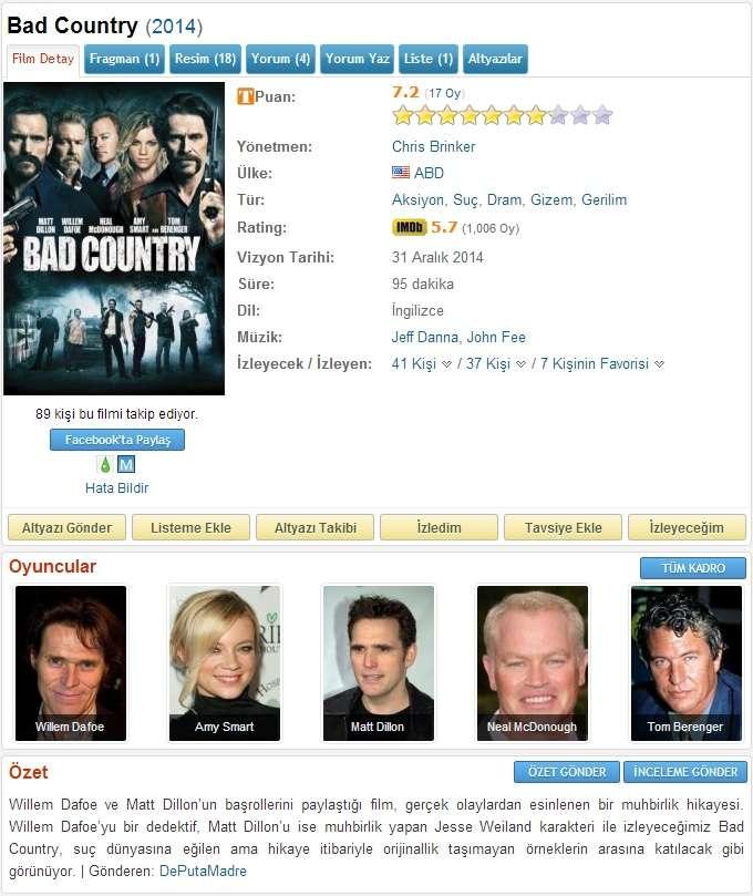 Bad Country - 2014 BDRip x264 - Türkçe Altyazılı Tek Link indir