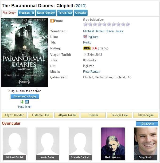 The Paranormal Diaries Clophill - 2013 DVDRip x264 - Türkçe Altyazılı Tek Link indir