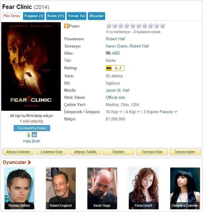 Fear Clinic - 2014 DVDRip XviD - Türkçe Altyazılı Tek Link indir