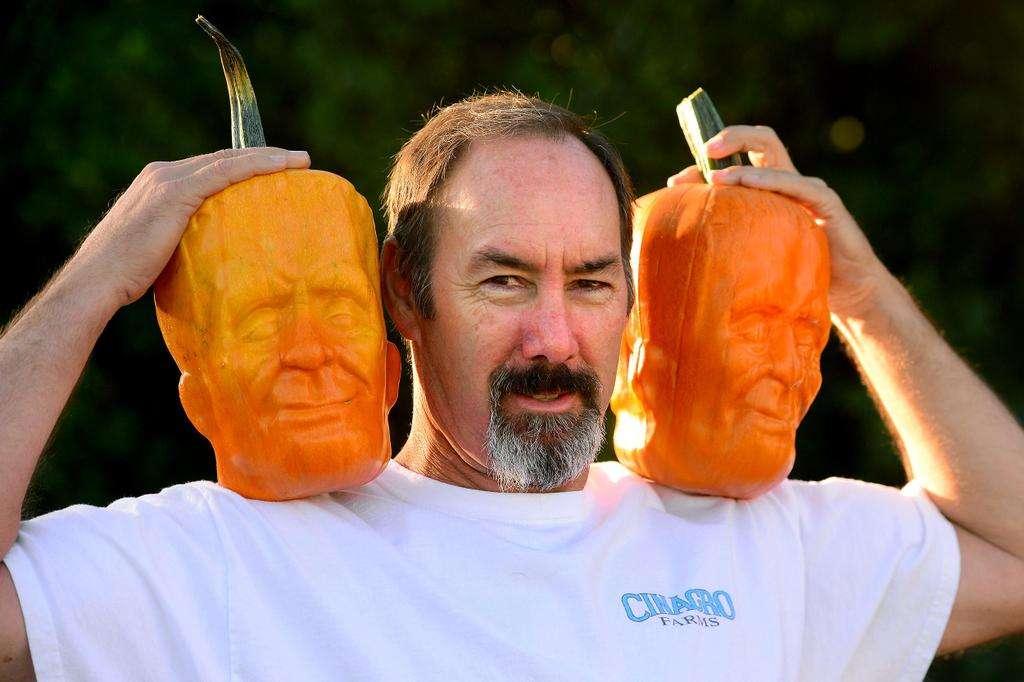 Cultivateur de citrouilles en forme de Frankenstein