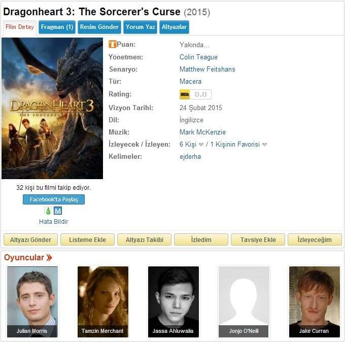 Dragonheart 3 The Sorcerers Curse - 2015 BDRip x264 - Türkçe Altyazılı Tek Link indir