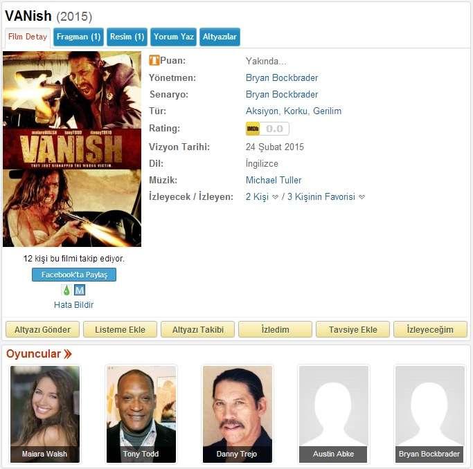 VANish - 2015 BDRip x264 - Türkçe Altyazılı Tek Link indir