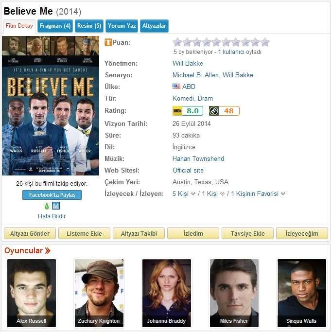 Believe Me - 2014 BDRip x264 - Türkçe Altyazılı Tek Link indir