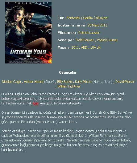 İntikam Yolu - Drive Angry - 2011 3D BluRay m1080p H-SBS Türkçe Dublaj MKV indir