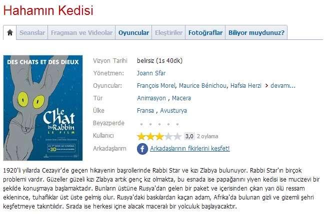 Hahamın Kedisi - 2011 BDRip x264 - Türkçe Altyazılı Tek Link indir