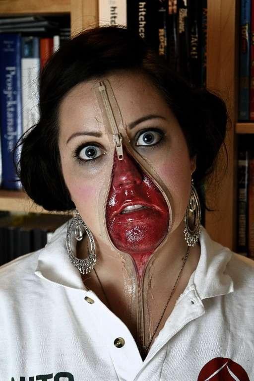 Déguisement effrayant pour Halloween fermeture éclair sur visage
